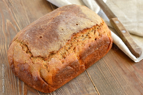 Poster Brood Rye loaf of homemade bread
