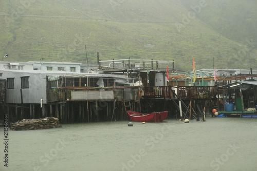 Spoed Foto op Canvas Khaki Village flottant de Tai o près de Hong Kong