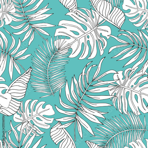 Graphic linear silhouette banana, palm leaves with turquoise background. Vector seamless pattern. Tropical jungle foliage illustration. Exotic plants. Summer beach floral design. Paradise nature Wall mural