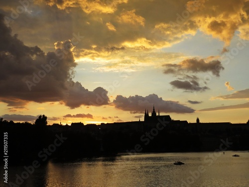 Beautiful Panorama of Prague Old Historical Castle During Sunset, Hradcany, Czec Poster