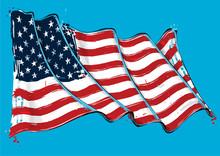 American Artistic Brush Stroke Waving Flag