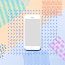 Smartphone With Memphis Color Art Background.flat Lay