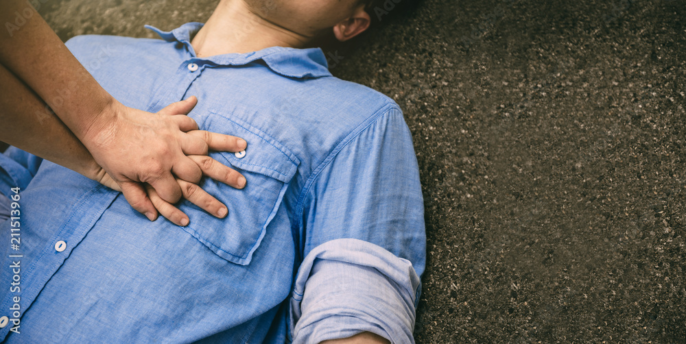 Fototapety, obrazy: Rescue First Aid and CPR in Emergency Training to Safe Life on Human who has Heart Attack or Senseless