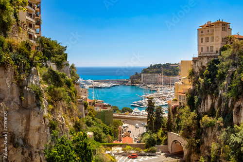 View of Monaco City with boat marina below in Monaco. Monaco City is one of the four traditional quarters.