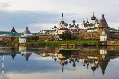 Poster Channel Spaso-Preobrazhensky the Solovetsky Stavropegial monastery on Bolshoi Solovetsky island in the White sea. Arkhangelsk region, Russia