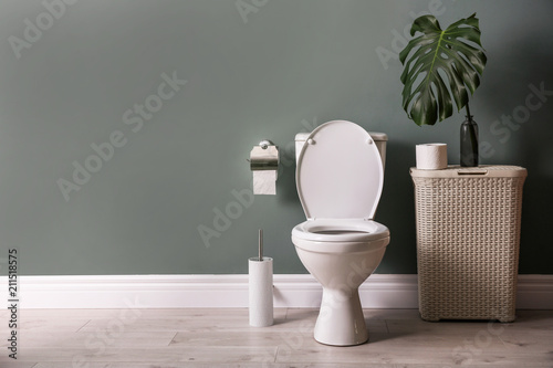 Fotografie, Obraz  New ceramic toilet bowl in modern bathroom