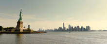 Statue Of Liberty And Financial District In Lower Manhattan, New York City, NY, USA.