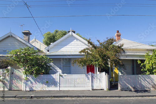A row of detached houses in a Melbourne suburb - St Kilda