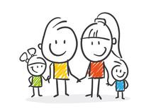 Strichfiguren / Strichmännchen: Familie. (Nr. 268)