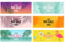 Abstract Summer Sale Background With Palm Leaves And Flamingo Collection Set. Vector Illustration