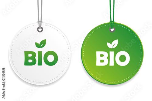 Fototapeta bio gütesiegel anhänger weiß grün obraz