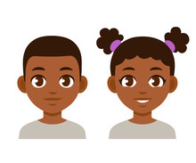 Cute Cartoon Black Children