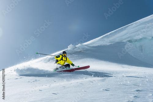 Fotografija The total length of skiing on fresh snow powder