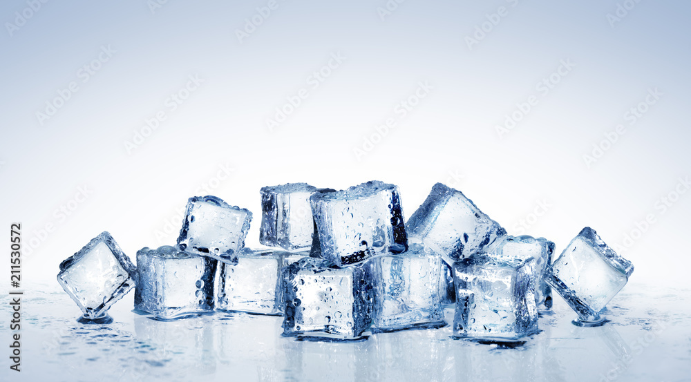 Fototapeta Ice Cubes - Cool Refreshing Crystals With Water Drops