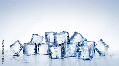 Fotografie, Obraz  Ice Cubes - Cool Refreshing Crystals With Water Drops