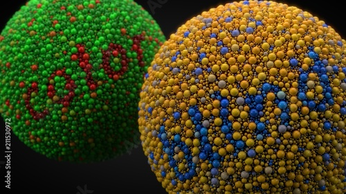 Photo color blindness test with spheres. 3d illustration