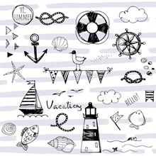 Doodle Nautical Elements On St...