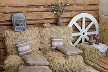 Hay Bales And Pillows. Rustic ...