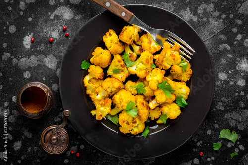 Roast turmeric cauliflower, bright vegetarian snack, tasty food