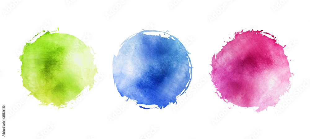 Fototapeta Illustration of watercolor circles with uneven grunge, round multicolored frames for background with drops on the edge