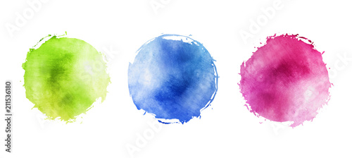 Fotografiet Illustration of watercolor circles with uneven grunge, round multicolored frames