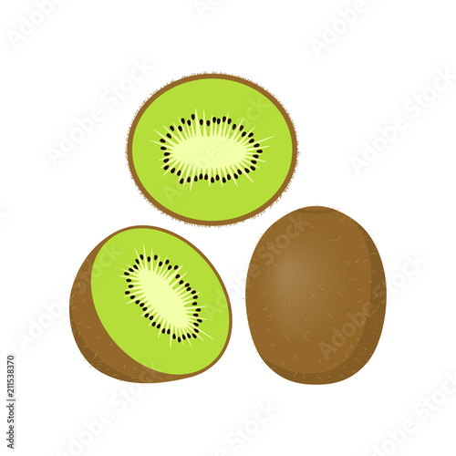 Fotografie, Obraz  Kiwi icon, Sliced kiwi icon clip art