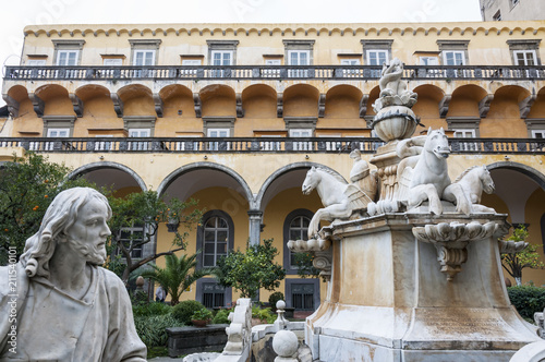 Foto op Aluminium Oude gebouw NAPLES , ITALY ON 10/16/2016 The cloister of San Gregorio Armeno, Naples