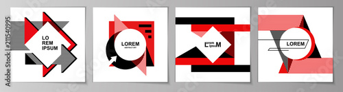 Set of square abstract backgrounds in minimal art style Canvas Print
