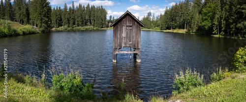 Fotografiet Hütte im Waldteich