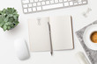 canvas print picture - bright minimalist workspace / desktop with blank open notebook, office supplies, coffee and succulent plant on a white background - top view, copyspace