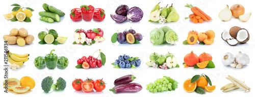 Foto op Plexiglas Verse groenten Obst und Gemüse Früchte Apfel Orange Zitrone Zwiebel Tomaten Farben Collage Freisteller freigestellt isoliert