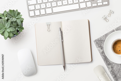 Fotografie, Obraz  bright minimalist workspace / desktop with blank open notebook, office supplies,