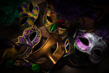 Multiple Mardi Gras Masks On A...