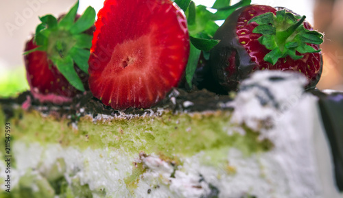 Birthday Cake With Chocolate And Strawberry