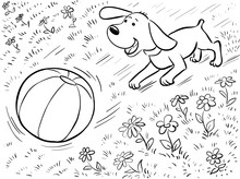 Doodle Coloring Page - Dog Pla...