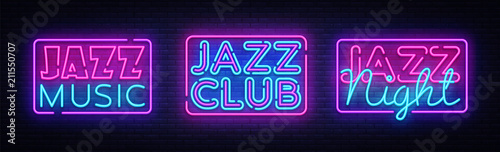 Jazz Music neon signs collection vector Wallpaper Mural