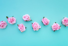 Row Of Satin Pink Rose Buds On...