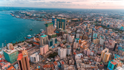 Canvas Prints Cappuccino aerial view of the haven of peace, city of Dar es Salaam