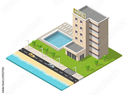 Cuadros en Lienzo Isometric hotel building with pool low poly illustration