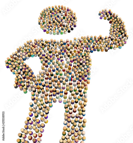 Fotografering  Cartoon Crowd Figure, Strong
