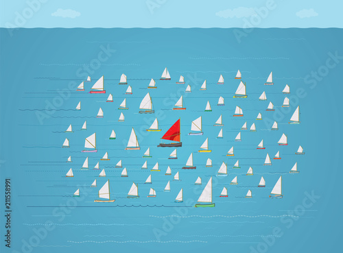 Photo Boat with Red Sail in the Middle of a crowded Fleet of Small Sailboats, Going al