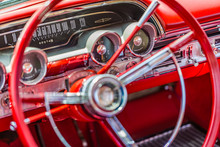 Shallow Depth Of Field Closeup Detail Of A Vintage American Car Dashboard