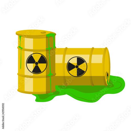 Radioactive barrels. Vector. Canvas Print