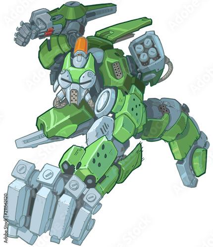 Photo Humanoid Green Cartoon Soldier Robot Punching Illustration