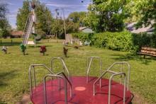 Antique Playground In Rural North Dakota Small Town