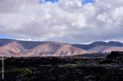 In de dag Zwart Landscape in Tropical Volcanic Canary Islands Spain