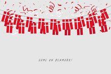 Denmark Garland Flag With Confetti On Gray Background, Hang Bunting For Denmark Celebration Template Banner. Vector
