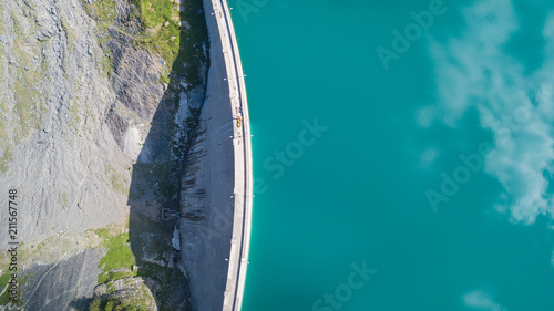 Foto op Plexiglas Dam Aerial view of the dam of the Lake Barbellino, an Alpine artificial lake. Italian Alps. Italy