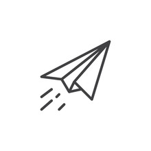 Paper Plane Fly Outline Icon. ...