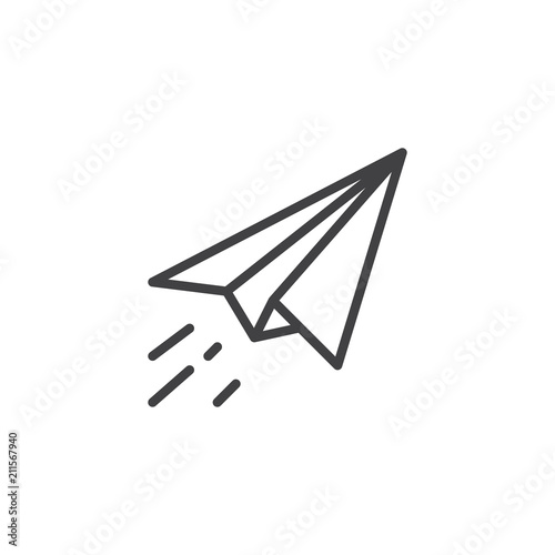 Fotomural  Paper plane fly outline icon
